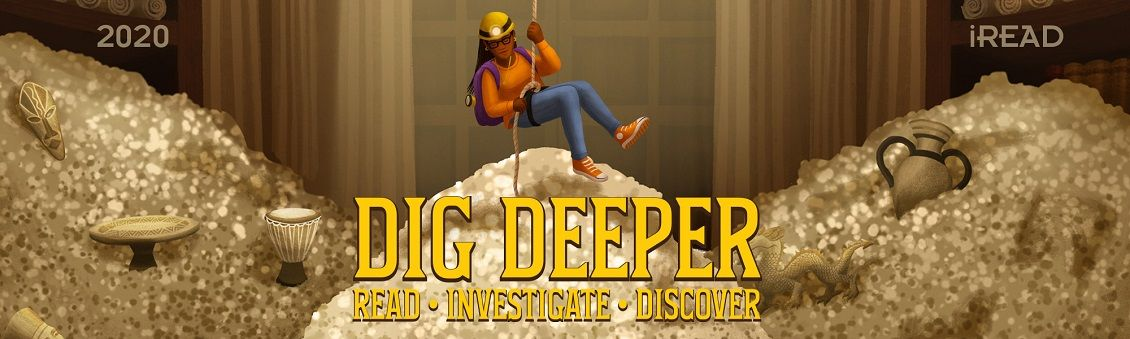 Dig Deeper banner, displaying kid descending rope into cavern of treasure.