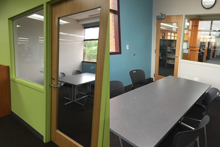 Side by side photos of two Library study rooms.