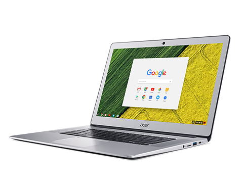 Google Chromebook laptop open with Google search site on screen.