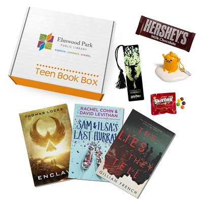 A teen book box with three books, a bookmark, candy, and fun toy.