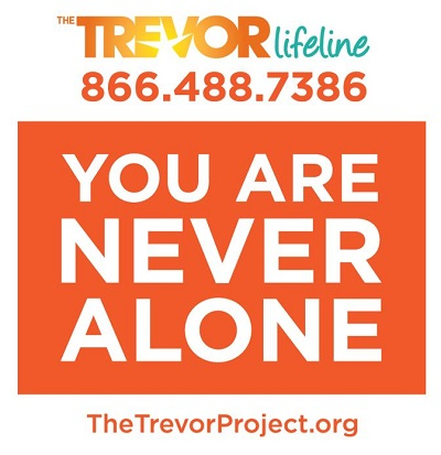 Logo for Trevor Project Lifeline.