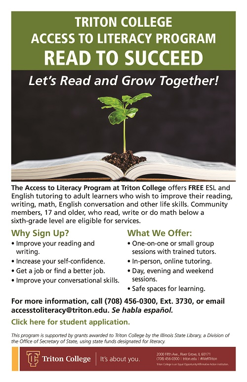 Poster advertising Triton College's Access to Literacy Program.