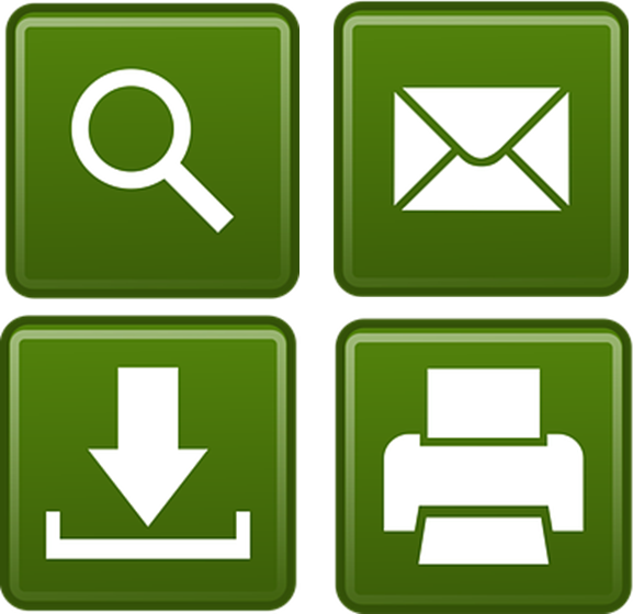 search print email download icons