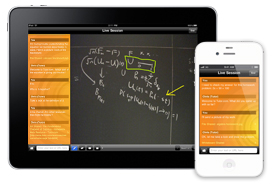 Tablet and phone displaying the Tutor.com app being used.